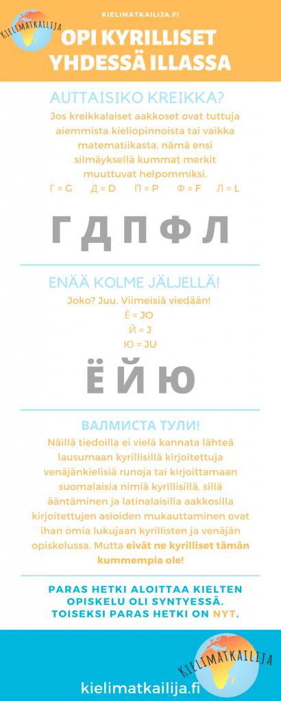 Haluatko oppia kyrilliset aakkoset? Lue tämä postaus, ja voit lukea venäjänkielisiä tekstejä jo samana päivänä!
